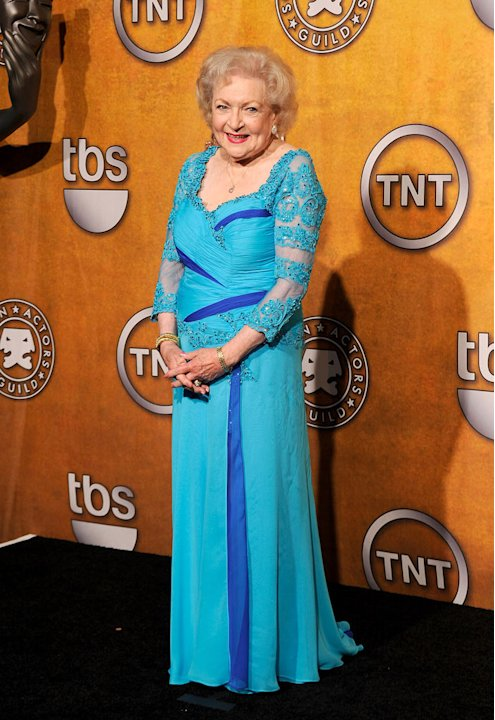 Betty White poses in the Press Room at the TNT/TBS broadcast of the 16th Annual Screen Actors Guild Awards at the Shrine Auditorium on January 23, 2010 in Los Angeles, California.