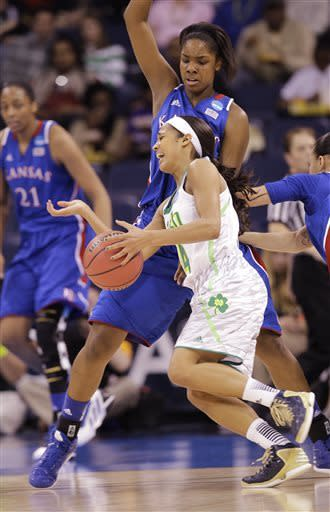 Diggins leads Notre Dame past Kansas 93-63