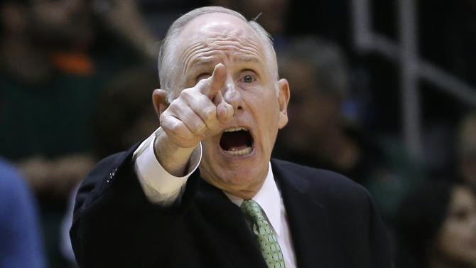 Miami coach Jim Larranaga reacts to a play by Virginia during the second half of an NCAA college basketball game in Coral Gables, Fla., Tuesday, Feb. 19, 2013. Miami won 54-50. (AP Photo/J Pat Carter)