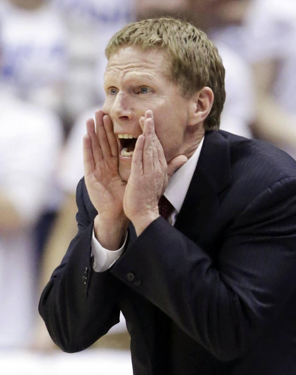 Gonzaga head coach Mark Few shouts to his team during the first half of an NCAA college basketball game against Brigham Young, Thursday, Feb. 28, 2013, in Provo, Utah. (AP Photo/Rick Bowmer)