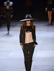 A model presents a creation for Saint Laurent during the Spring/Summer 2013 ready-to-wear collection show on October 1, 2012 in Paris