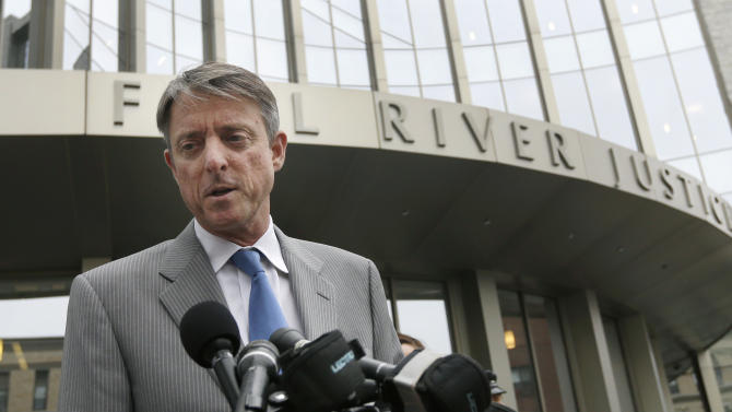 Bristol County District Attorney Sam Sutter speaks to the media outside the Fall River Justice Center after a bail hearing was held for former New England Patriots football player Aaron Hernandez in Fall River Superior Court Thursday, June 27, 2013 in Fall River, Mass. Hernandez, charged with murdering Odin Lloyd, a 27-year-old semi-pro football player, was denied bail. (AP Photo/Elise Amendola)