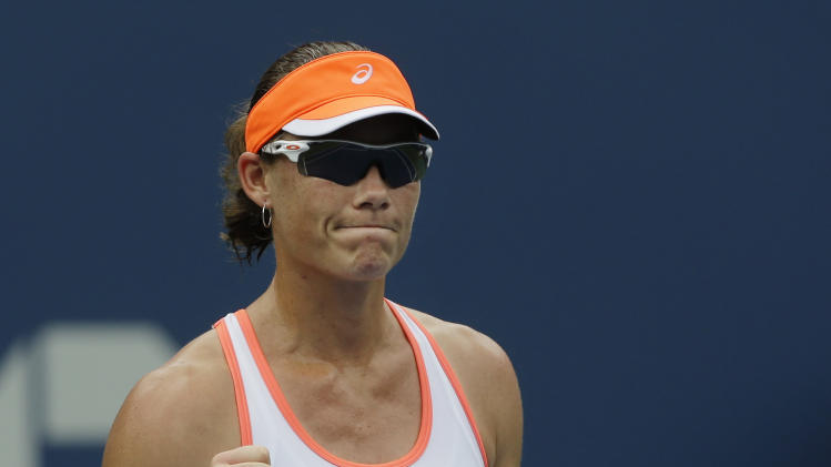 Australia's Samantha Stosur reacts after defeating Petra Martic of Croatia at the 2012 US Open Tennis tournament, Monday, Aug. 27, 2012, in New York. (AP Photo/Mike Groll)