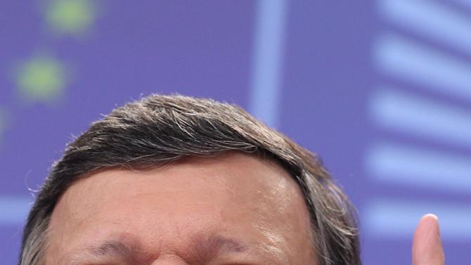 European Commission President Jose Manuel Barroso addresses the media on the next steps for stability, growth and jobs, at the European Commission headquarters in Brussels, Wednesday, May 30, 2012. (AP Photo/Yves Logghe)