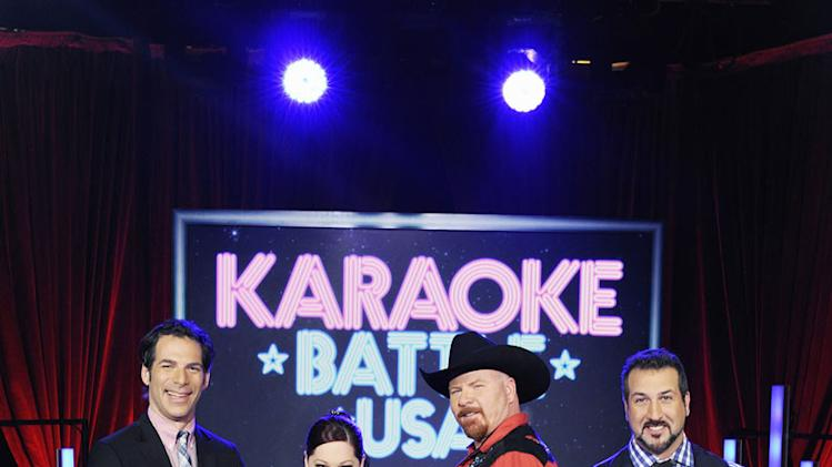 "Joe Levy, Carnie Wilson, Brian Scott, and Joey Fatone of ""Karaoke Battle USA."""