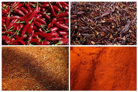 A combination photo shows the stages of paprika preparation