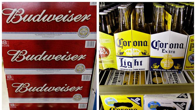 This combination of Associated Press file photos show Budweiser beer in the aisles of Elite Beverages in Indianapolis, and Constellation Brands Corona beers displayed at a liquor store in Palo Alto, Calif. The Justice Department on Thursday, Jan. 31, 2013,  filed a lawsuit to stop Anheuser-Busch InBev's proposed $20.1 billion purchase of Mexican brewer Grupo Modelo, which would unite the ownership of popular beers like Budweiser and Corona. (AP Photos)