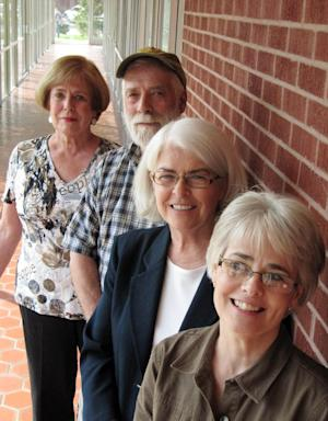 Three brothers and a sister who grew up in an academically competitive home in Buffalo, N.Y., will carry on their sibling rivalry at the annual AARP National Spelling Bee in Cheyenne, Wyo., on Saturday. Shown from left, Joan Risley, 67, of Scottsdale, Ariz.; Roger Risley, 62, of Port Townsend, Wash.; Chris Wagner, 60, of Sacramento, Calif.; and Prudence Hopkins, 57, of Spotsylvania, Va., gather in advance of the spelling bee Thursday Aug. 9, 2012, in Cheyenne, Wyo. (AP Photo/Mead Gruver)