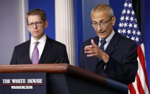 White House senior counselor Podesta speaks to reporters at the White House briefing room