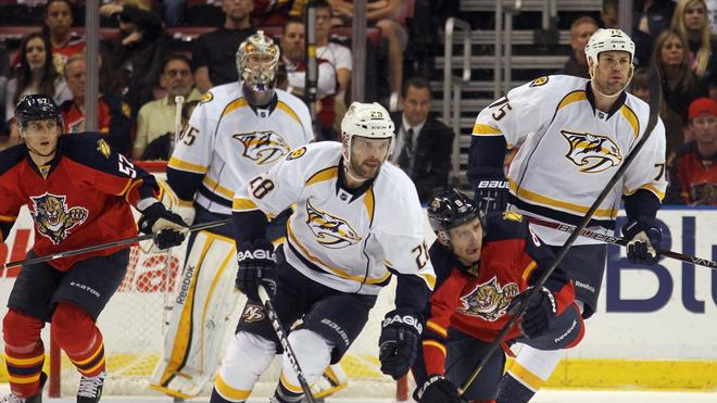 Paul Gaustad #28 Of The Nashville Predators Skates Getty Images