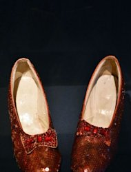 The ruby slippers worn by Dorothy Gale (Judy Garland) in the 1939 movie &#39;The Wizard of Oz&#39; on display at the Hollywood Costume exhibition in the Victoria and Albert museum in London on October 17, 2012. The slippers, on a four-week loan from the Smithsonian&#39;s National Museum of American History in Washington DC, are on public display in Europe for the first time in history