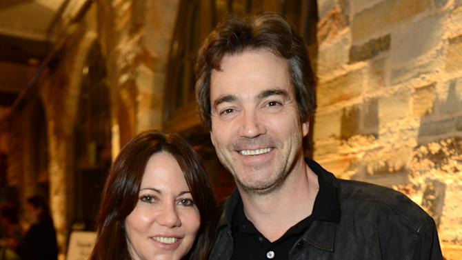 """Leslie Urdang and Jon Tenney attend the opening night of """"The Gift"""" at the Geffen Playhouse on Wednesday, Feb. 6, 2013 in Westwood, Calif. (Photo by Jordan Strauss/Invision/AP Images)"""