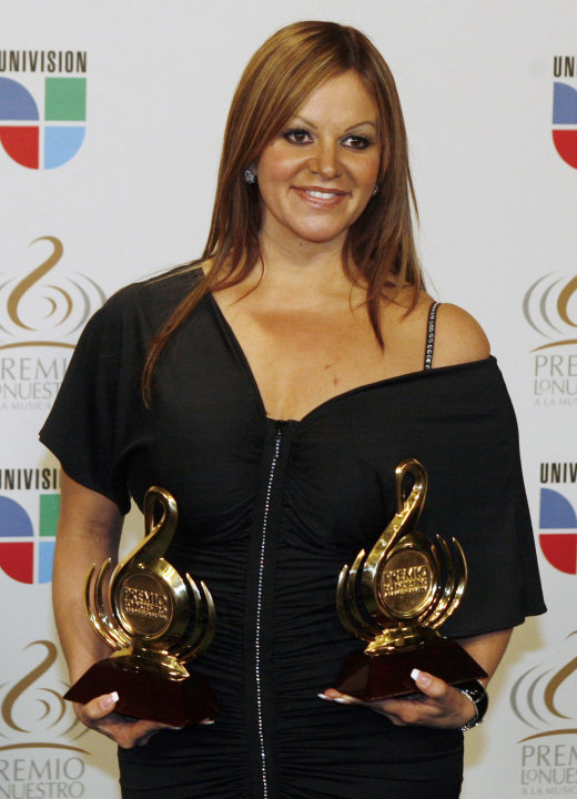 In this Thursday March 26, 2009 file photo Mexican singer Jenni Rivera poses backstage during the Premio Lo Nuestro Latin music awards in Coral Gables, Fla. Rivera and Mexican pitcher Esteban Loaiza a