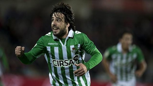 Real Betis midfielder Benat Etxebarria celebrates after scoring against Getafe at the Coliseum Alfonso Perez (AFP)