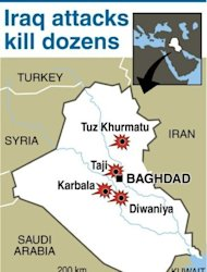 Map of Iraq locating attacks in Diwaniya, Taji, Karbala and Tuz Khurmatu