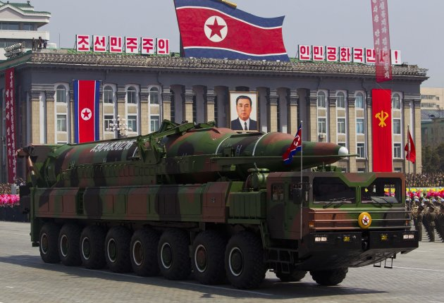 FILE - In this Sunday, April 15, 2012 file photo, a North Korean vehicle carrying a missile passes by during a mass military parade in Pyongyang's Kim Il Sung Square to celebrate the centenary of the birth of late North Korean founder Kim Il Sung. Analysts sifting through information on North Korea's failed rocket launch say it suggests Pyongyang has learned little about spaceflight since its last flubbed attempt three years ago, and that it's a long way from being able to threaten the United States with a long-range missile. (AP Photo/David Guttenfelder, File)