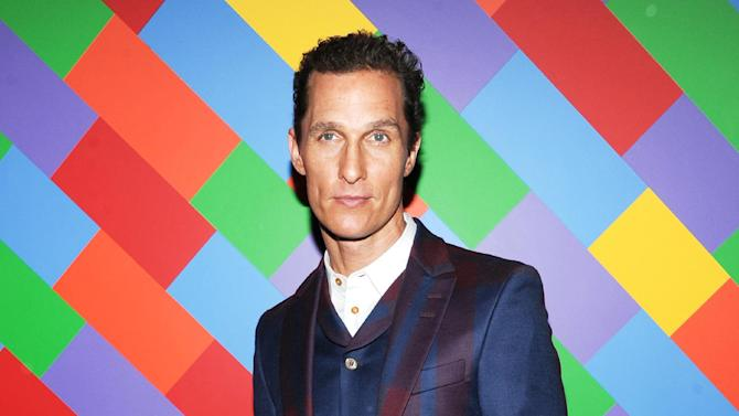 """FILE - This April 21, 2013 file photo shows actor Matthew McConaughey at the premiere of """"Mud"""" hosted by The Cinema Societywith FIJI Water & Levi's at the Museum of Modern Art  in New York.  McConaughey stars in the film with Reese Witherspoon. (Photo by Evan Agostini/Invision/AP, file)"""