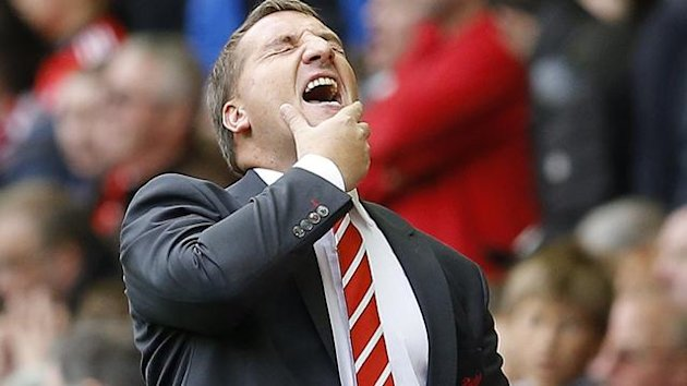 Liverpool manager Brendan Rodgers reacts during their English Premier League soccer match against Manchester United at Anfield in Liverpool, northern England September 23, 2012 (Reuters)