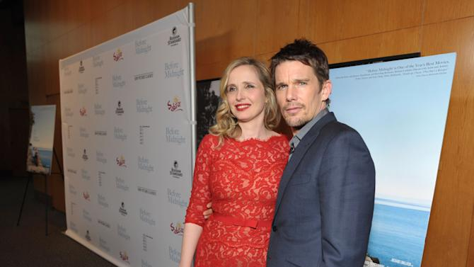 """IMAGE DISTRIBUTED FOR A-LIST COMMUNICATIONS - Julie Delpy, left, and Ethan Hawke attend the Sony PIctures Classics premiere of """"Before Midnight"""", on Tuesday, May 21, 2013 in Los Angeles. (Photo by John Shearer/Invision for A-List Communications/AP Images)"""
