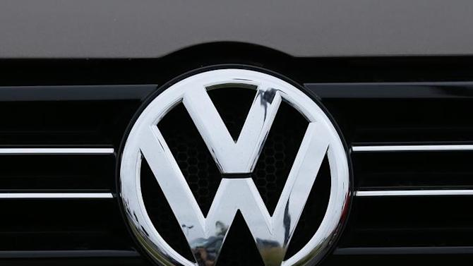 Volkswagen logo is seen on the front of a Volkswagen vehicle at a dealership in Carlsbad