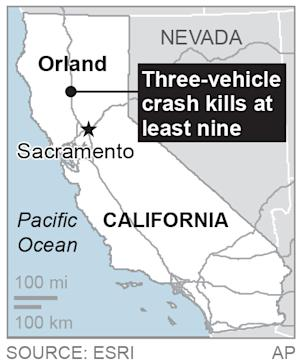 Map locates Orland, Calif., where three vehicles crashed …