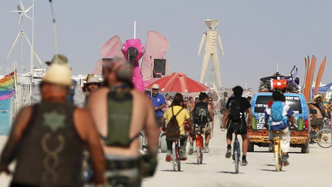 "The Man dominates the Playa during the Burning Man 2015 ""Carnival of Mirrors"" arts and music festival in the Black Rock Desert of Nevada"