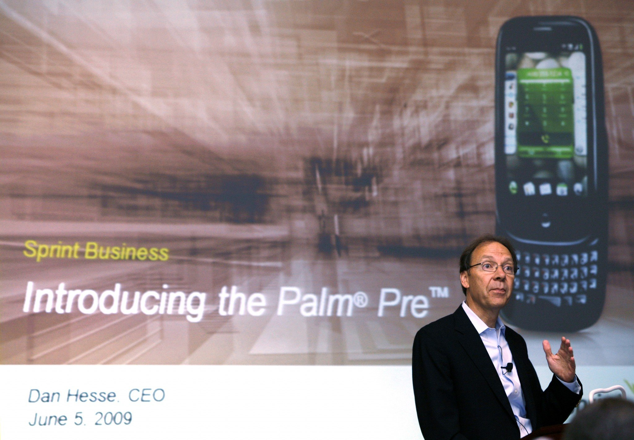 Dan Hesse, former CEO of Sprint Nextel Corp., speaks during a news conference announcing the launch of the Palm Pre smartphone in New York June 5, 200...