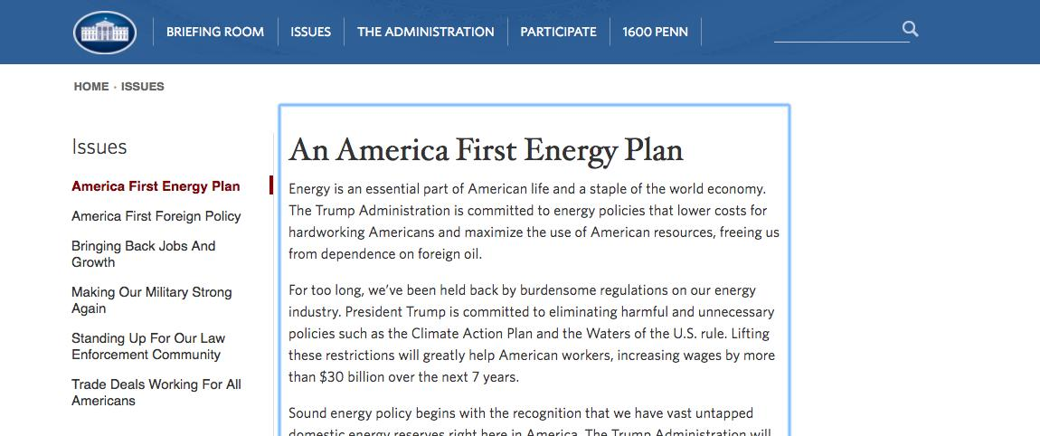 The first post up on Trump's new White House website vows to eliminate the Climate Action Plan