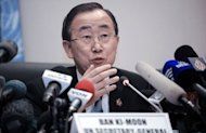 "<p>UN Secretary General Ban Ki Moon addresses the media at African Union headquarters in Addis Ababa on January 28, 2013. The African Union pledged funds and military backing for war-torn Mali Monday, as Ban warned on the eve of a major donor conference there was a ""moral imperative"" to provide support.</p>"
