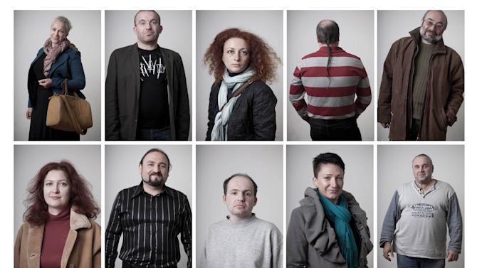 In this combination of fifteen photos all taken on Dec. 24, 2012, Russian-speaking Israelis who immigrated from the former Soviet Union, and who are competing in a Russian-language trivia contest in Tel Aviv, Israel pose for portraits. Israel has one of the world's largest Russian-speaking communities outside the former Soviet Union, and the immigrants' tenacious clinging to their old way of life has transformed the Jewish state. (AP Photo/Oded Balilty)