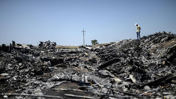 A man stands at the crash site of the Malaysia Airlines Flight MH17 on July 26, 2014, near the village of Hrabove (Grabove), in the Donetsk region