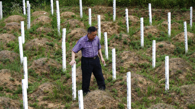 "In this Thursday, June 28, 2012 photo, local resident Kim Dong-hun inspects the wooden grave markers at the ""enemy cemetery,"" where Chinese and North Korean soldiers who died in the Korean War are buried,  just south of the Demilitarized Zone in Paju, South Korea.  Hundreds of identical wooden grave markers stand on the hill surrounded by rice paddies and trees, North Korea's dark mountains visible in the distance. They call this the ""enemy cemetery,"" though of the two nations whose soldiers are buried here, only North Korea is still considered an enemy by the South. The other, China, has inspired proposals for improving this site, but bitter feelings for the North have formed a seemingly impassable barrier. (AP Photo/Hye Soo Nah)"