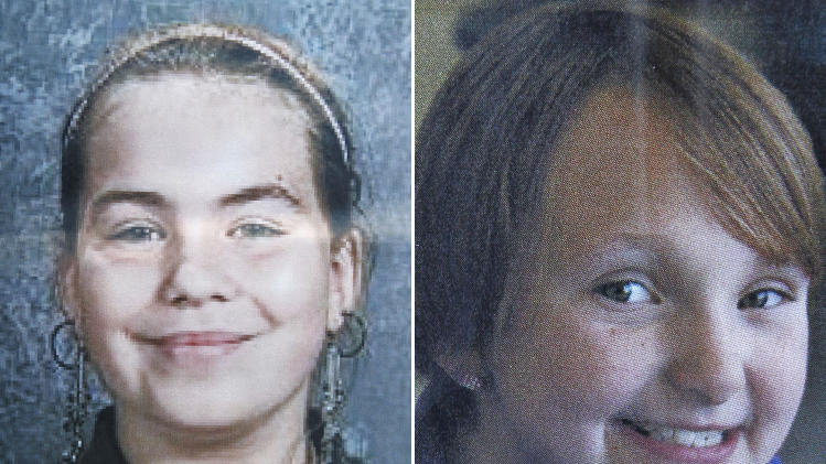 This combo made from undated photos provided by Black Hawk County police shows cousins Lyric Cook-Morrissey, 10, left, and Elizabeth Collins, 8, who have been missing since Friday afternoon, July 13, 2012. The girls were last seen Friday afternoon leaving their grandmother's house. (AP Photo/Black Hawk County Police via Waterloo Courier)