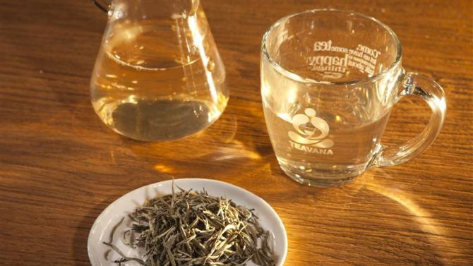 A cup of silver needle tea is pictured on a counter at a Teavana store in New York
