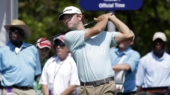 Lucas Glover tees off on the 10th hole during the third round of the PGA Zurich Classic golf tournament at TPC Louisiana in Avondale, La., Saturday, April 27, 2013. (AP Photo/Gerald Herbert)