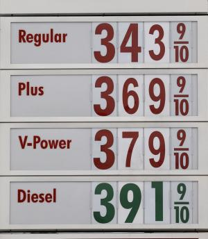 In this Monday, July 1, 2013, photo, a sign with gas prices is shown at a gas station, in Hialeah, Fla. The price of oil rose 2 percent Wednesday, July 10, 2013, as the U.S. government reported another steep decline in the nation's supplies of oil and gasoline.(AP Photo/Alan Diaz)