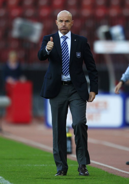 FC Luzern coach Bernegger reacts during their Swiss Super League soccer match against FC Zurich in Zurich