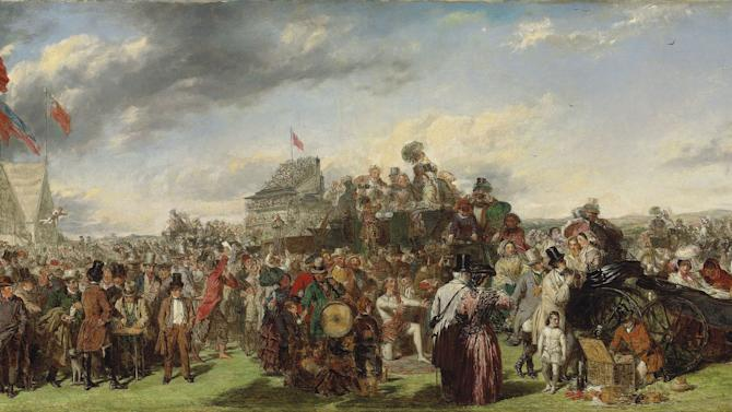 "In this image made available by Christie's London of ""Derby Day"" by William Powell Frith.  The Victorian painting that hung in a family's unlocked New England beach house for half a century could fetch 500,000 pounds ($800,000) when it is sold next month, Christie's auction house said Tuesday Nov. 15, 2011. ""Derby Day"" is an early version of one of the era's most famous paintings  William Powell Frith's teeming, picaresque image of the crowds at an 1850s horse race, from a rich family in their carriage to a prostitute and a fortune teller. (AP Photo/Christie's)  EDITORIAL USE ONLY"