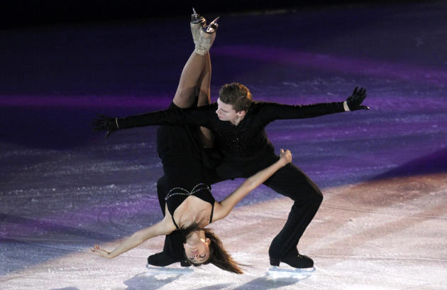 Ekaterina Riazanova and Ilia Tkachenko of Russia perform during a gala exhibition programme at the European Figure Skating Championships in Zagreb