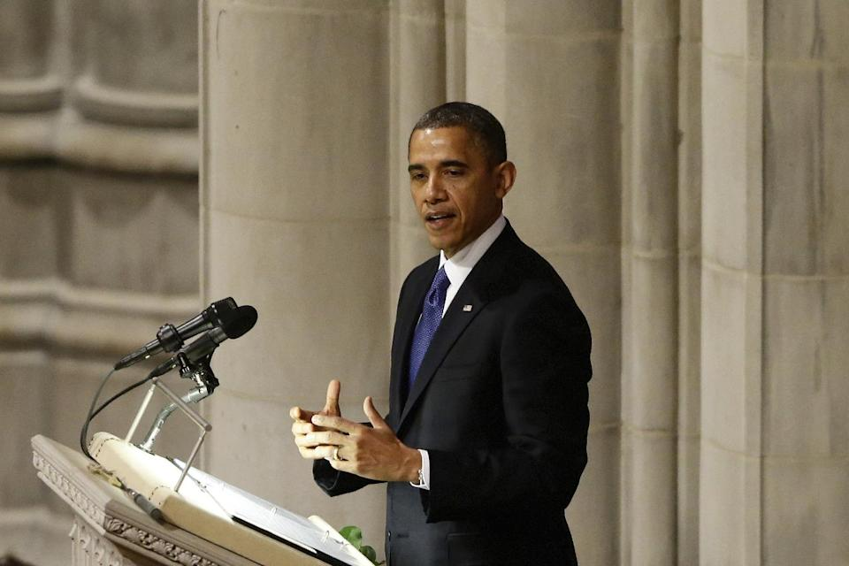 President Barack Obama speaks at the funeral service for the late Sen. Daniel Inouye, D-Hawaii, at the Washington National Cathedral, Friday, Dec. 21, 2012. (AP Photo/Charles Dharapak)