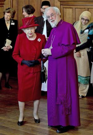 "FILE - Britain's Queen Elizabeth II, front left, talks with the Archbishop of Canterbury Rowan Williams, in London as they attend a multi-faith reception to mark the Diamond Jubilee of the Queen's Accession to the throne when as part of her title she became Defender of the Faith, in this file photo dated Wednesday, Feb. 15, 2012.  In an interview published Saturday Sept. 8, 2012, in Britain's Daily Telegraph newspaper, Williams said the Anglican Church is planning to give some of the global duties of the Archbishop of Canterbury to a ""presidential"" figure so the archbishop can concentrate on leading the Church of England, and admitted he didn't do enough to prevent divisions in the Anglican church over homosexuality.  (AP Photo/Matt Dunham, File)"