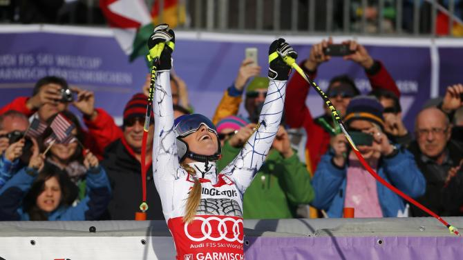 Vonn of the U.S. reacts at the finish area after missing a gate in her run in the Alpine Skiing World Cup women's downhill race in the Bavarian ski resort of Garmisch-Partenkirchen
