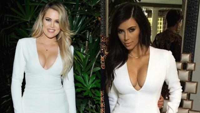 Khloe and Kim Kardashian In the Same Plunging White Dress -- Who Wore It Best?