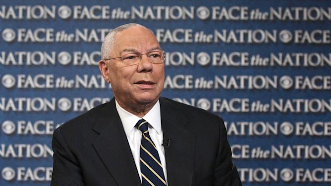 "In this Aug. 21, 2013, photo provided by CBS News, former Secretary of State Colin Powell speaks on CBS's ""Face the Nation"" during a pre-taped interview in Washington. The first black chairman of the Joint Chiefs of Staff and first black secretary of state, Powell says America has come a long way toward racial equality 50 years after Martin Luther King Jr.'s ""I Have a Dream"" speech. (AP Photo/CBS News, Mary F. Calvert)"