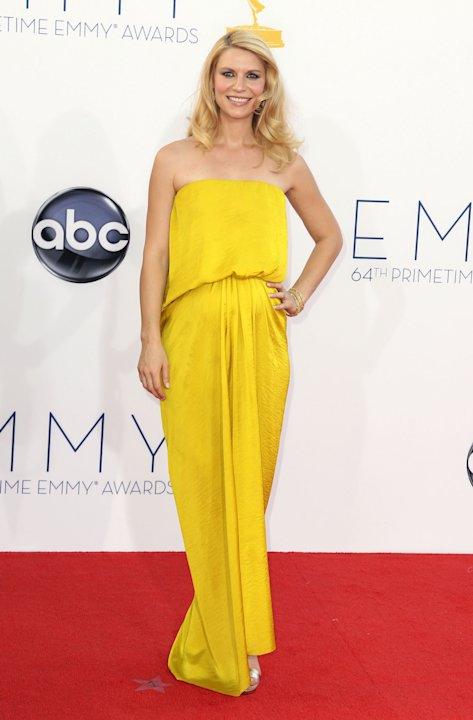 Claire Danes from &quot;Homeland&quot; arrives at the 64th Primetime Emmy Awards at the Nokia Theatre on Sunday, Sept. 23, 2012, in Los Angeles. (Photo by Matt Sayles/Invision/AP)
