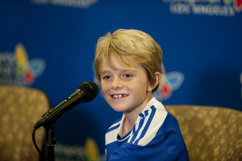 Max Page, 7, famous for his role as Darth Vader in a television commercial for a car, speaks during a news conference at Children's Hospital Los Angeles on Monday, June 18, 2012, in Los Angeles. Max returned home Monday after undergoing open-heart surgery last week for a congenital heart condition. (AP Photo/Grant Hindsley)