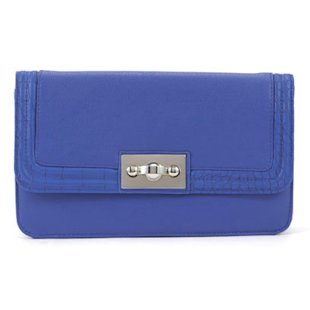 Blue Snake Print Trim Clutch New Look
