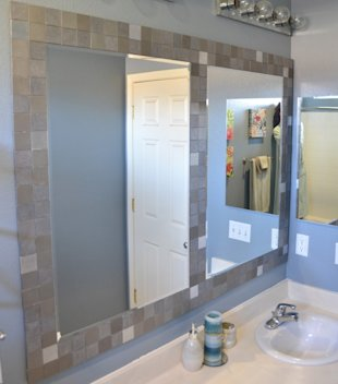 Mirror with tile border DIY