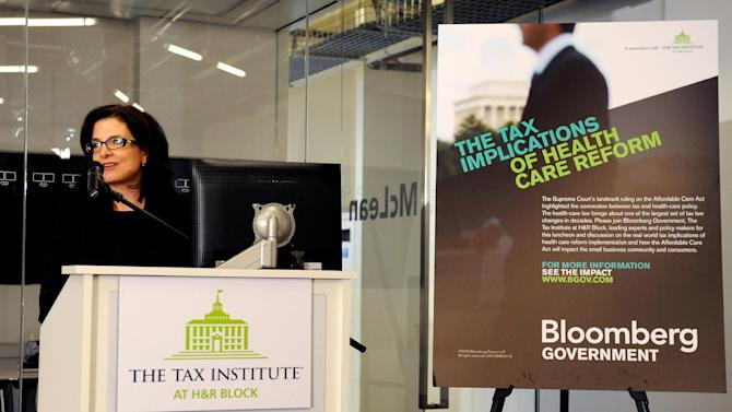 Kathy Pickering, executive director of The Tax Institute at H&R Block speaks at an event on the tax implications of health care reform, on Friday, February 15, 2013 in Washington, DC. The event kicked of a multi-city engagement tour hosted by The Tax Institute at H&R Block examining the effects of the Affordable Care Act on consumers, small businesses and the uninsured. (Photo by Larry French/AP Images for The Tax Institute at H&R Block)
