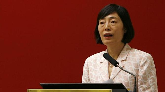 People's Bank of China Deputy Governor Hu Xiaolian speaks in Hong Kong